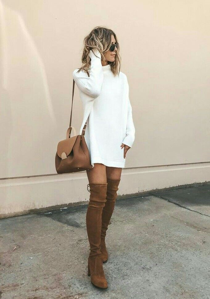 White sweatshirt dress with thigh high boots