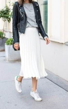 White outfit instagram with leather dress, leather jacket, street fashion