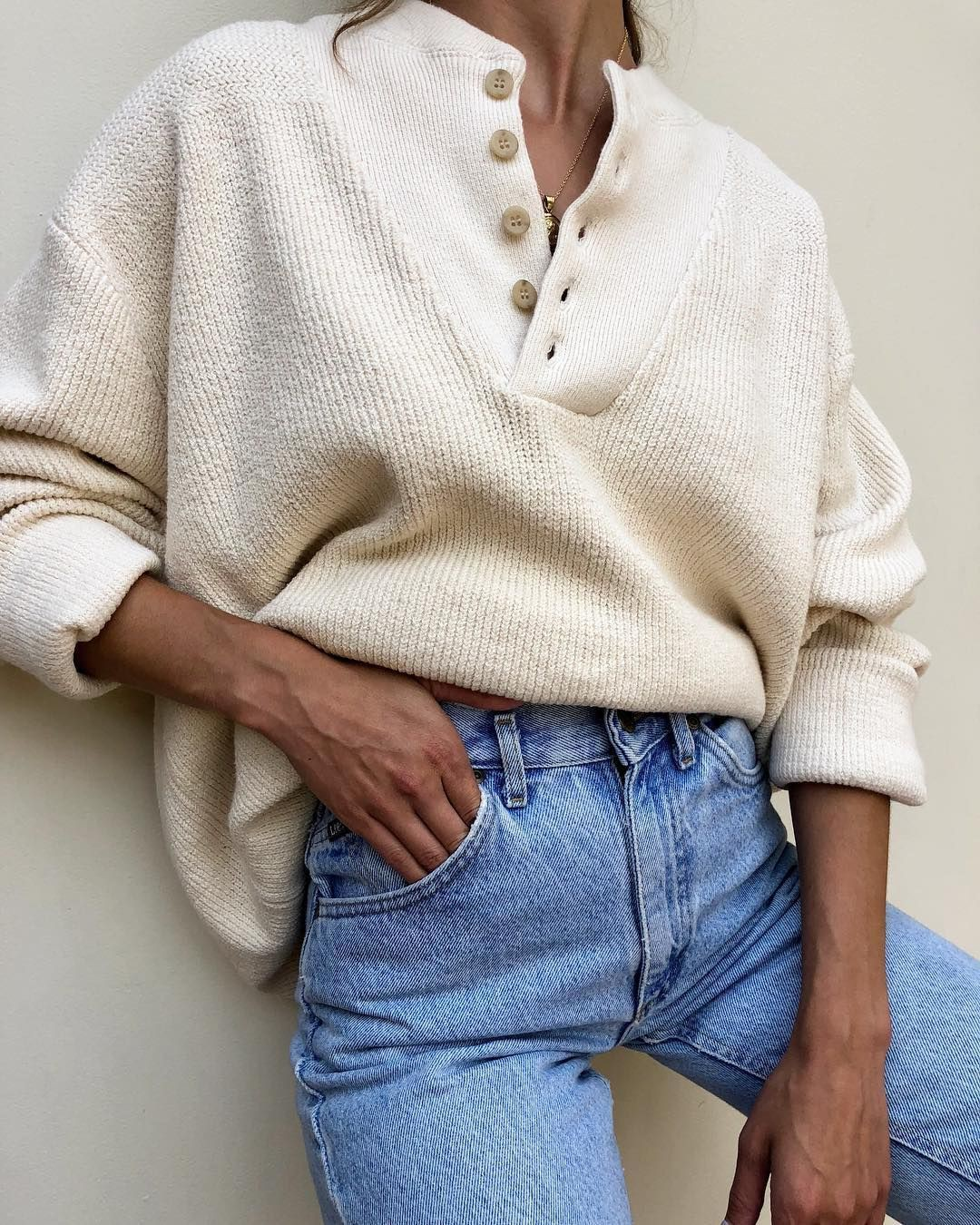 Beige and white colour ideas with sweater, denim