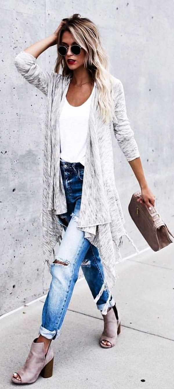 Outfit women grey cardigan, street fashion, boho chic