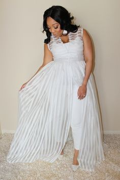 Wedding guest plus white jumpsuit