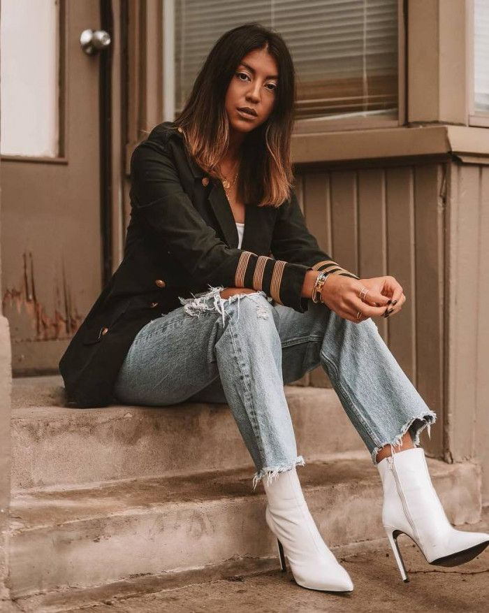 Boyfriend jeans with white boots