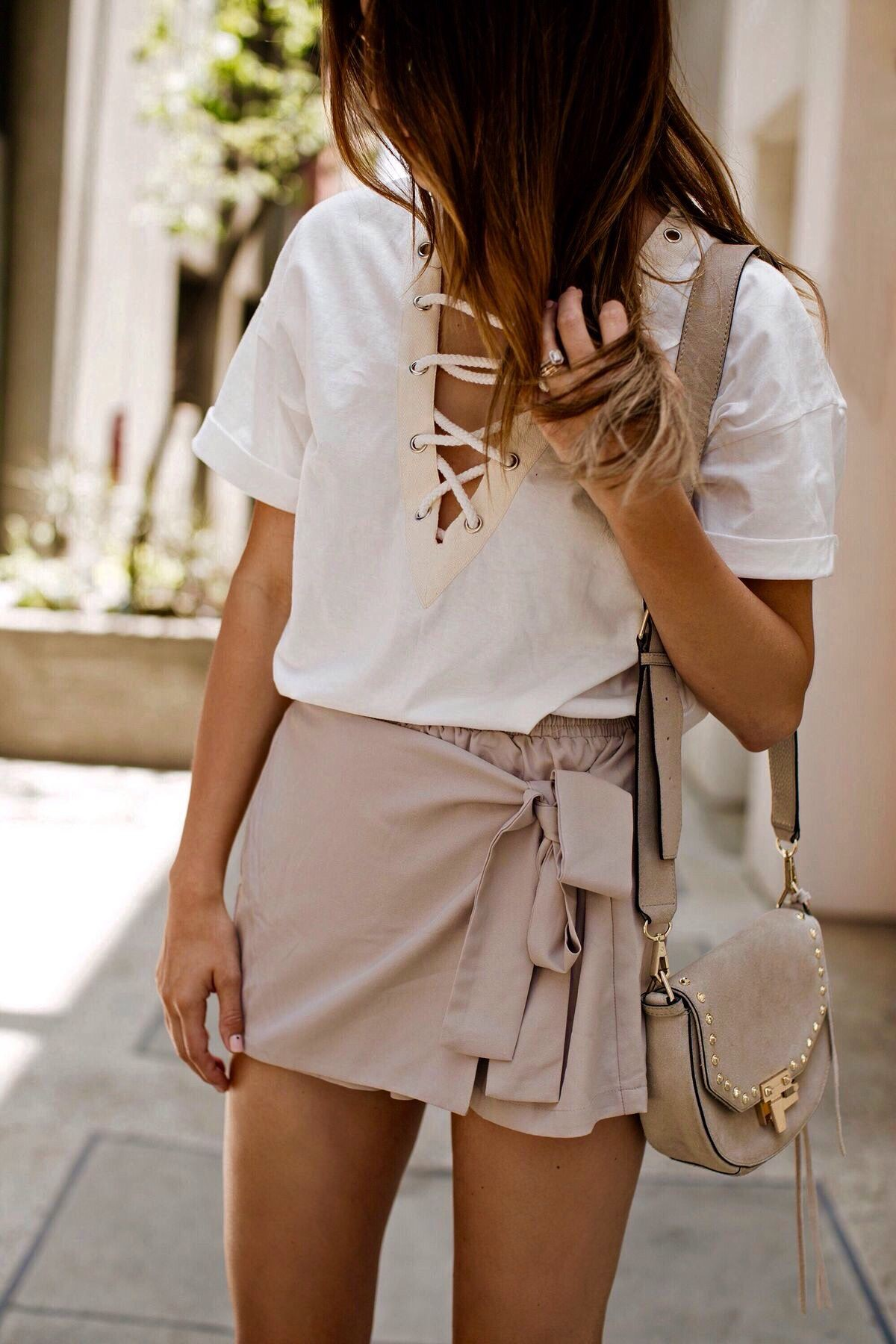 Beige and white colour combination with wedding dress, shorts, skirt