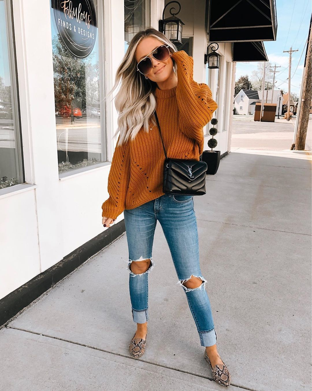 Orange and brown clothing ideas with ripped jeans, mom jeans, denim