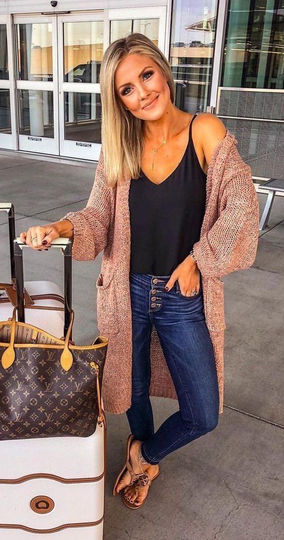 brown matching dress with jeans, handbag, bag