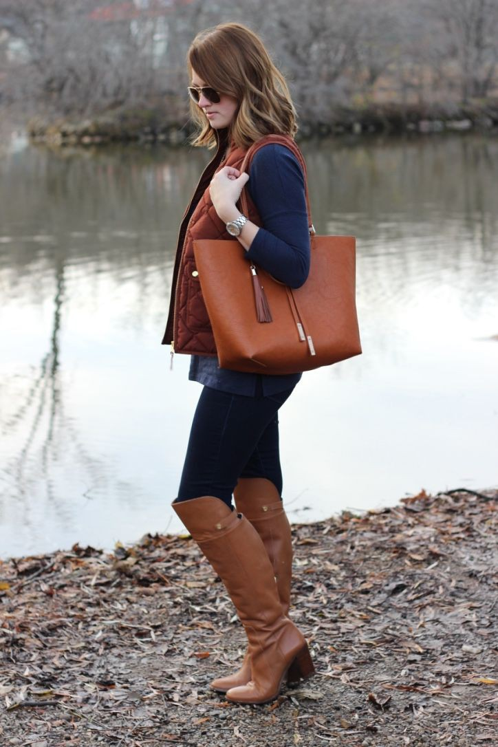 Brown and tan style outfit with leather, jeans