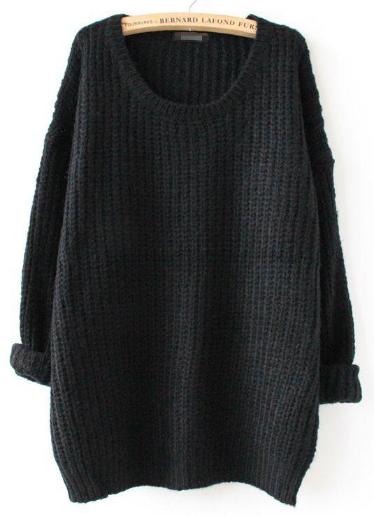 Black jumper long loose, fashion accessory, casual wear, scoop neck, polo neck, crew neck