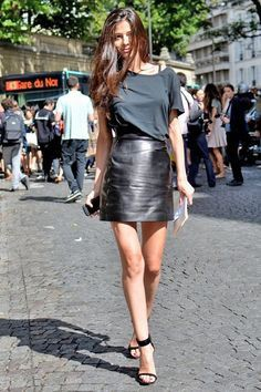 Black colour ideas with leather skirt, miniskirt, leather