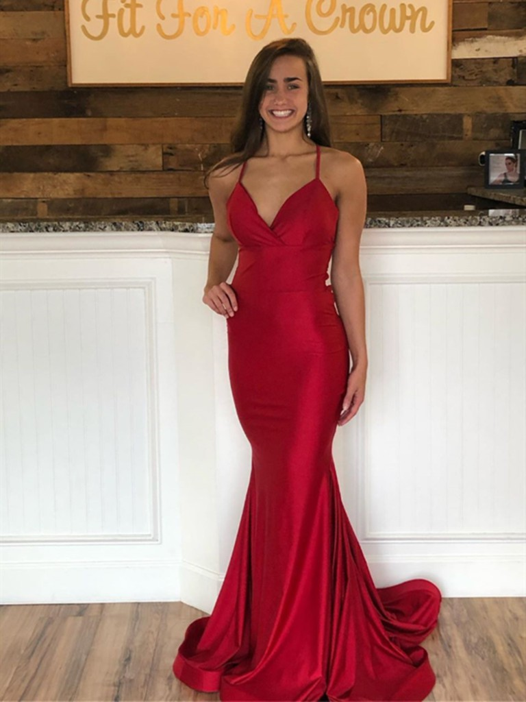 Red colour dress with bridal party dress, bridesmaid dress, backless dress