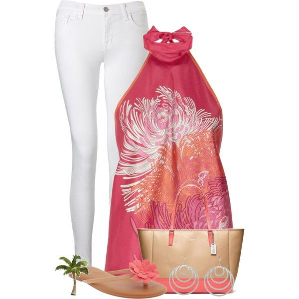 Magenta and pink style outfit with sleeveless shirt, sportswear, trousers