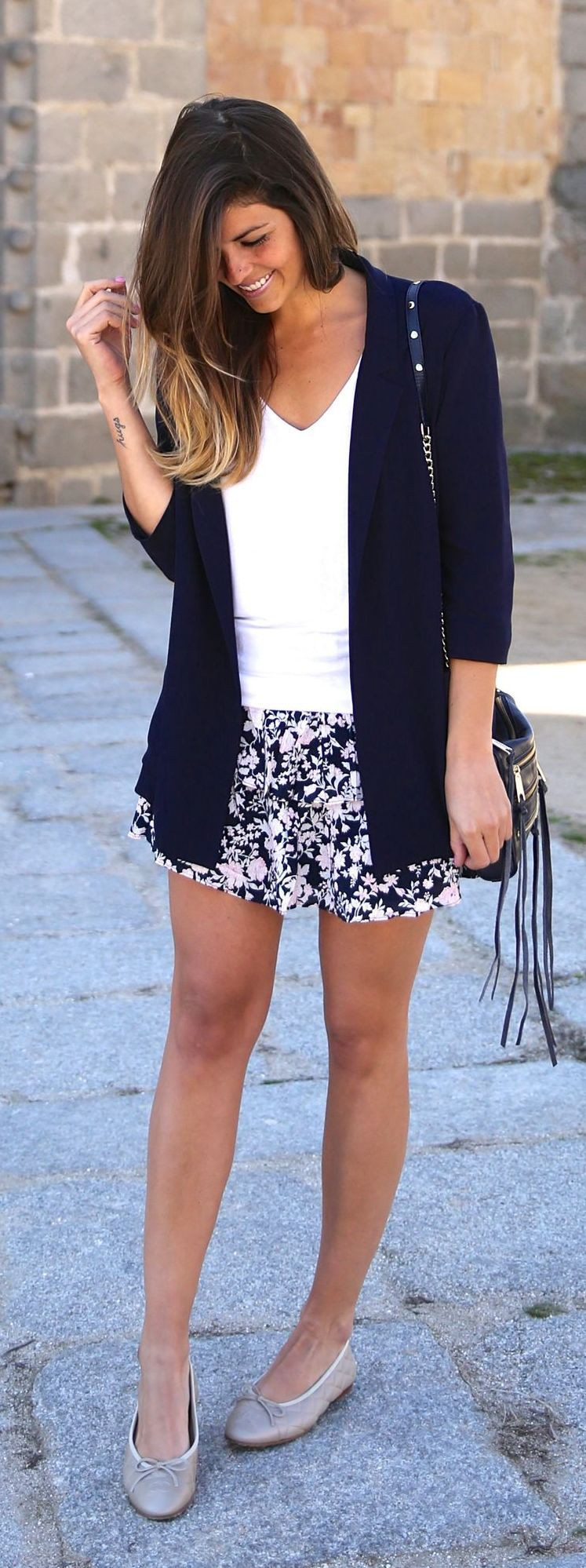 Black and white classy outfit with little black dress, little black dress, shorts, blazer