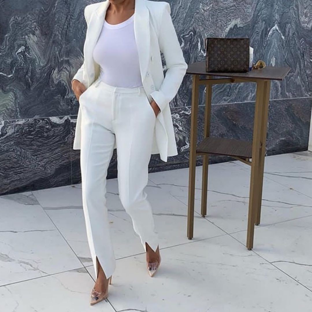 White colour combination with formal wear, trousers, pantsuit