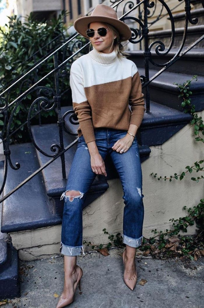 Colour outfit ideas 2020 with trousers, sweater, jacket