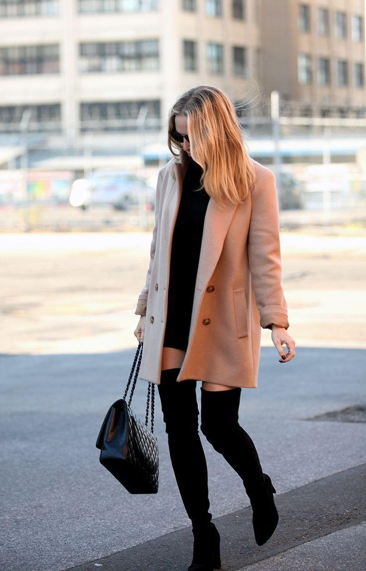 Cute outfits with coat thigh high boots, street fashion