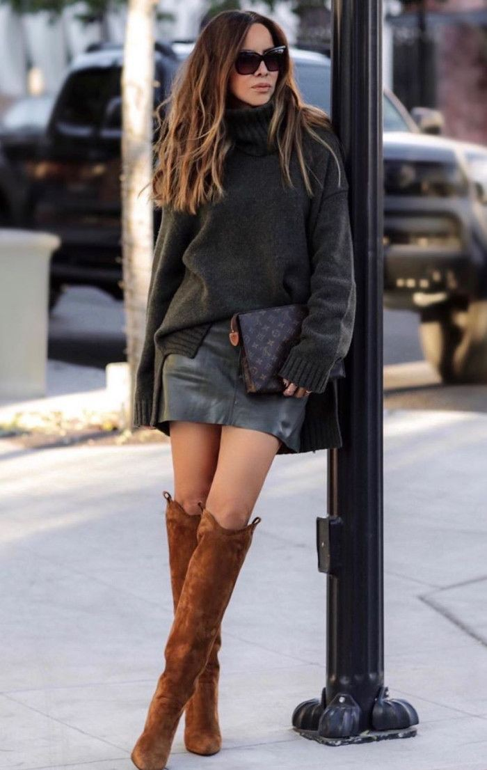 Attire with dress denim skirt, leather, skirt