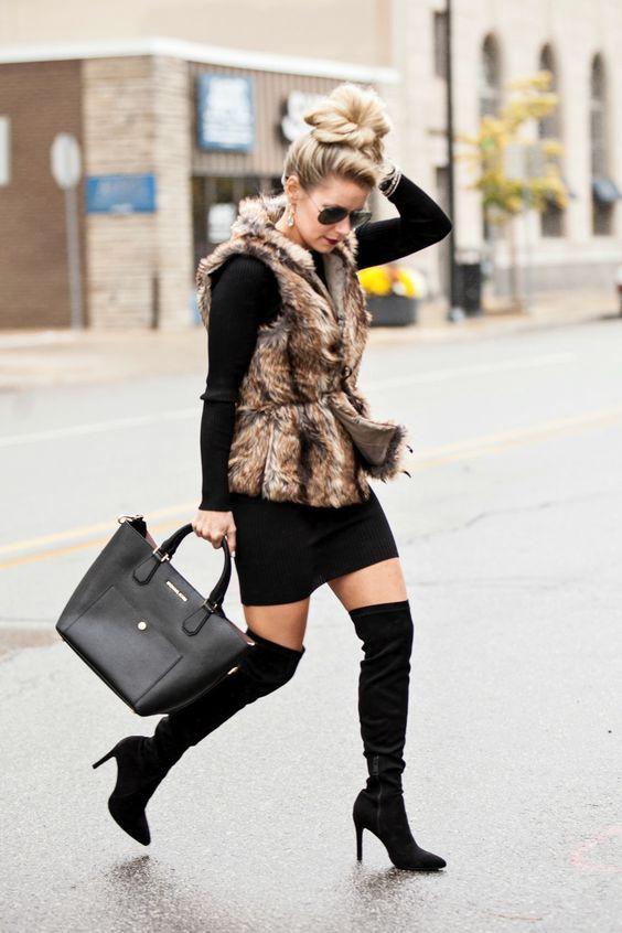 Dresses ideas fur vest outfit slim fit pants, knee high boot