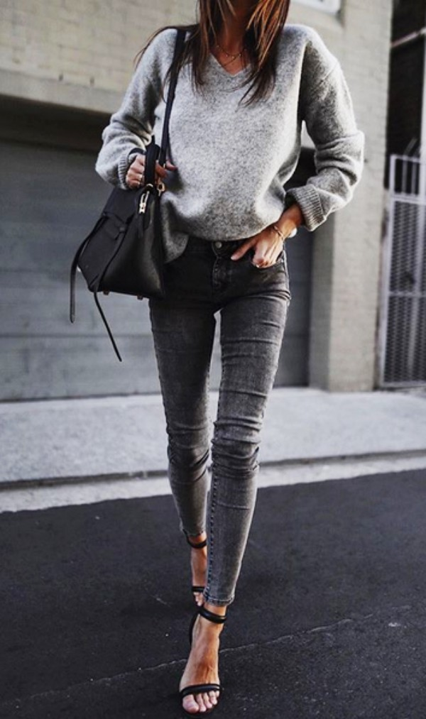 Sweater and jeans outfit heels