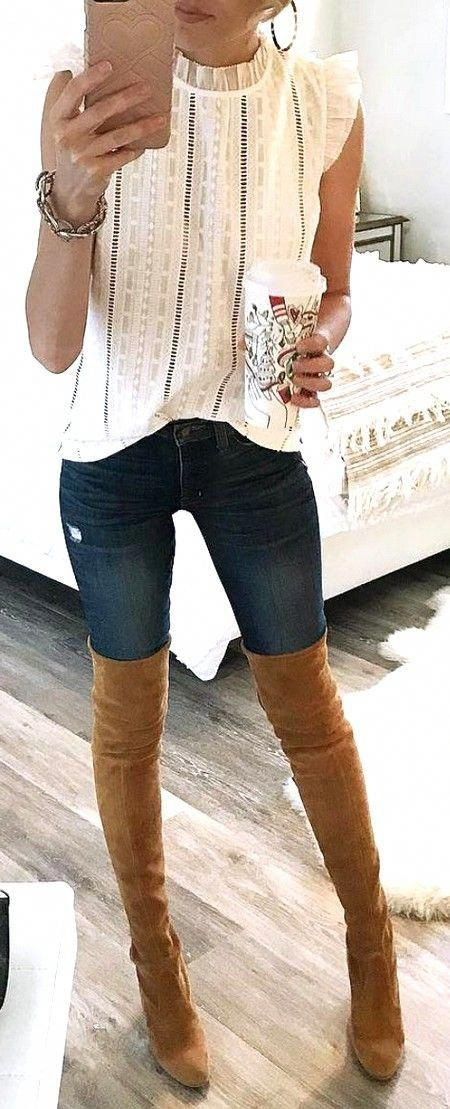 White outfit style with denim, jeans, top