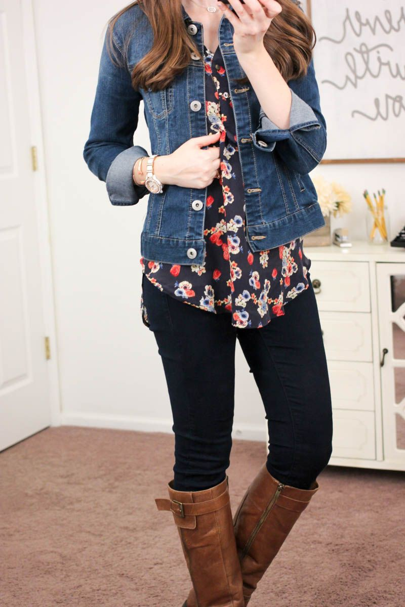 Denim jacket on printed top
