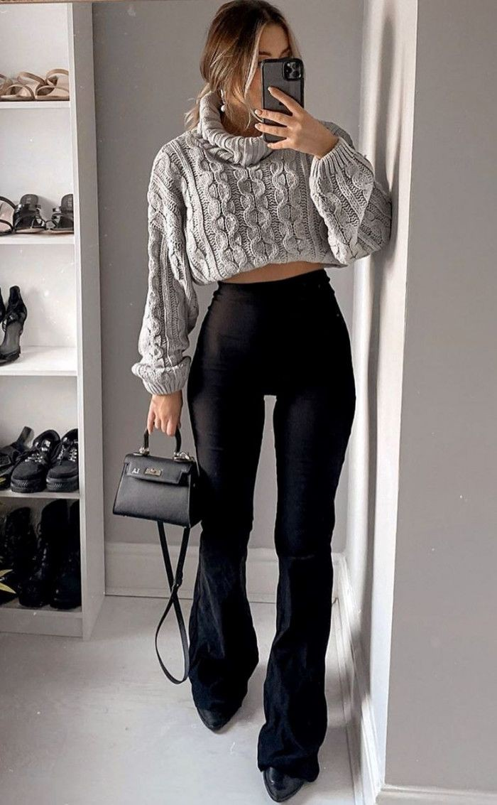 White and black instagram fashion with leather jacket, leggings, sweater