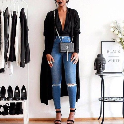 Black colour outfit, you must try with trousers, blazer, jacket