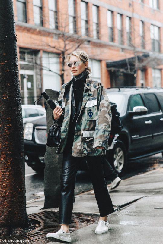 Military vintage street style, military camouflage, military uniform, street fashion
