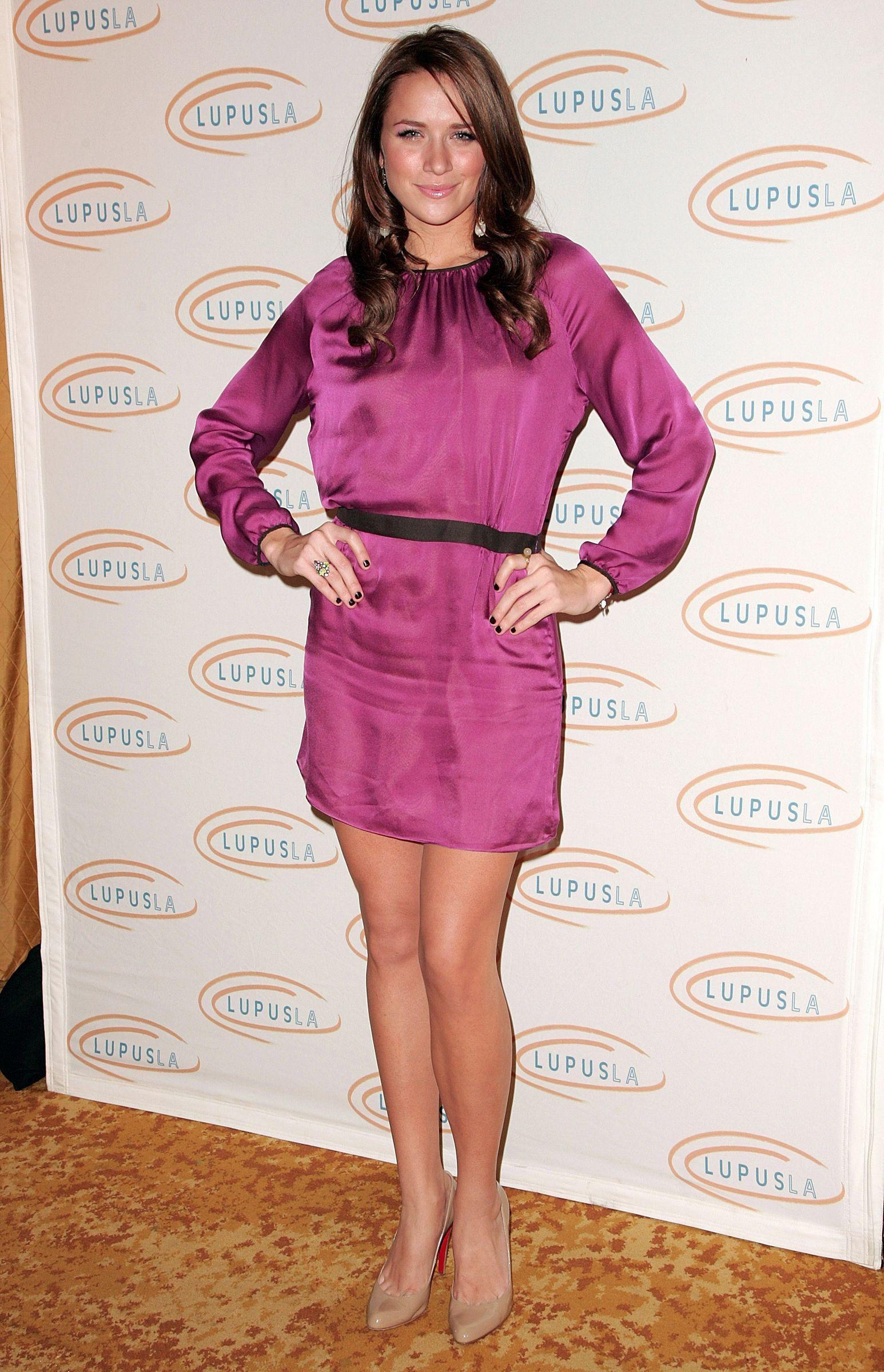 purple colour combination with cocktail dress, legs photo