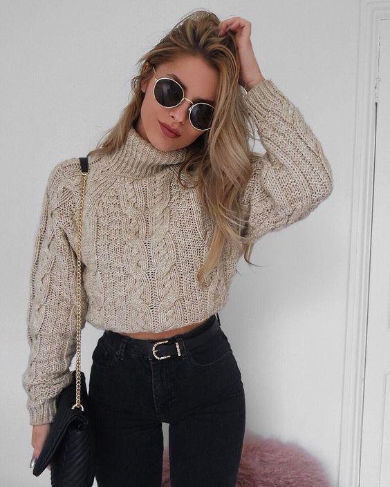 Turtle neck sweaters women, casual wear, polo neck, crop top
