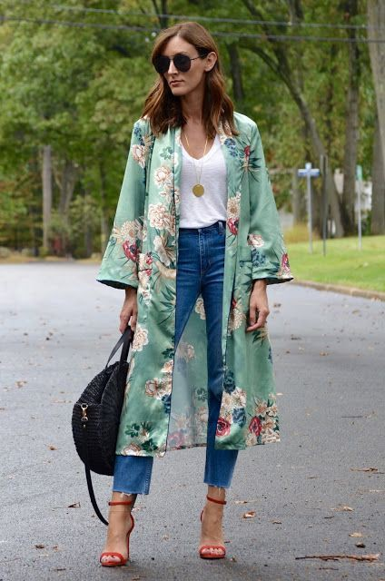 Colour outfit, you must try floral kimono outfit, street fashion, floral design, kimono long, t  ...