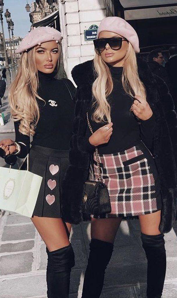 Lookbook fashion with miniskirt, tartan, skirt