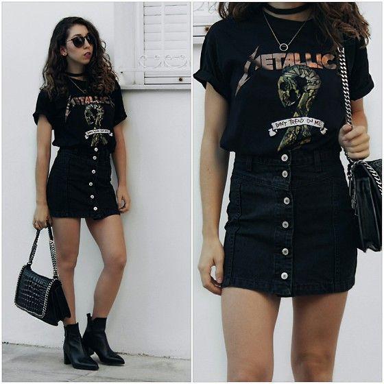 Denim skirt band shirt, denim skirt, t shirt