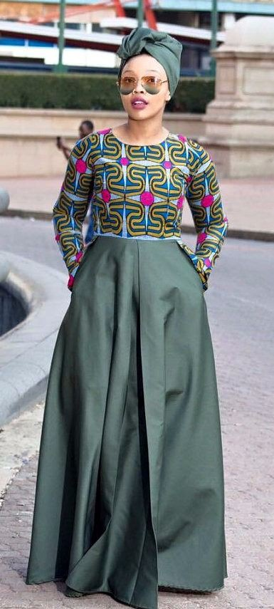 Olive green traditional dresses african wax prints, street fashion