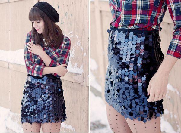 Colour combination with miniskirt, tartan, jeans