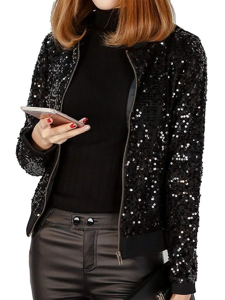 Sequin blazer plus size, clothing sizes, flight jacket