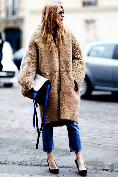 Electric blue and brown clothing ideas with fur clothing, leather, jacket