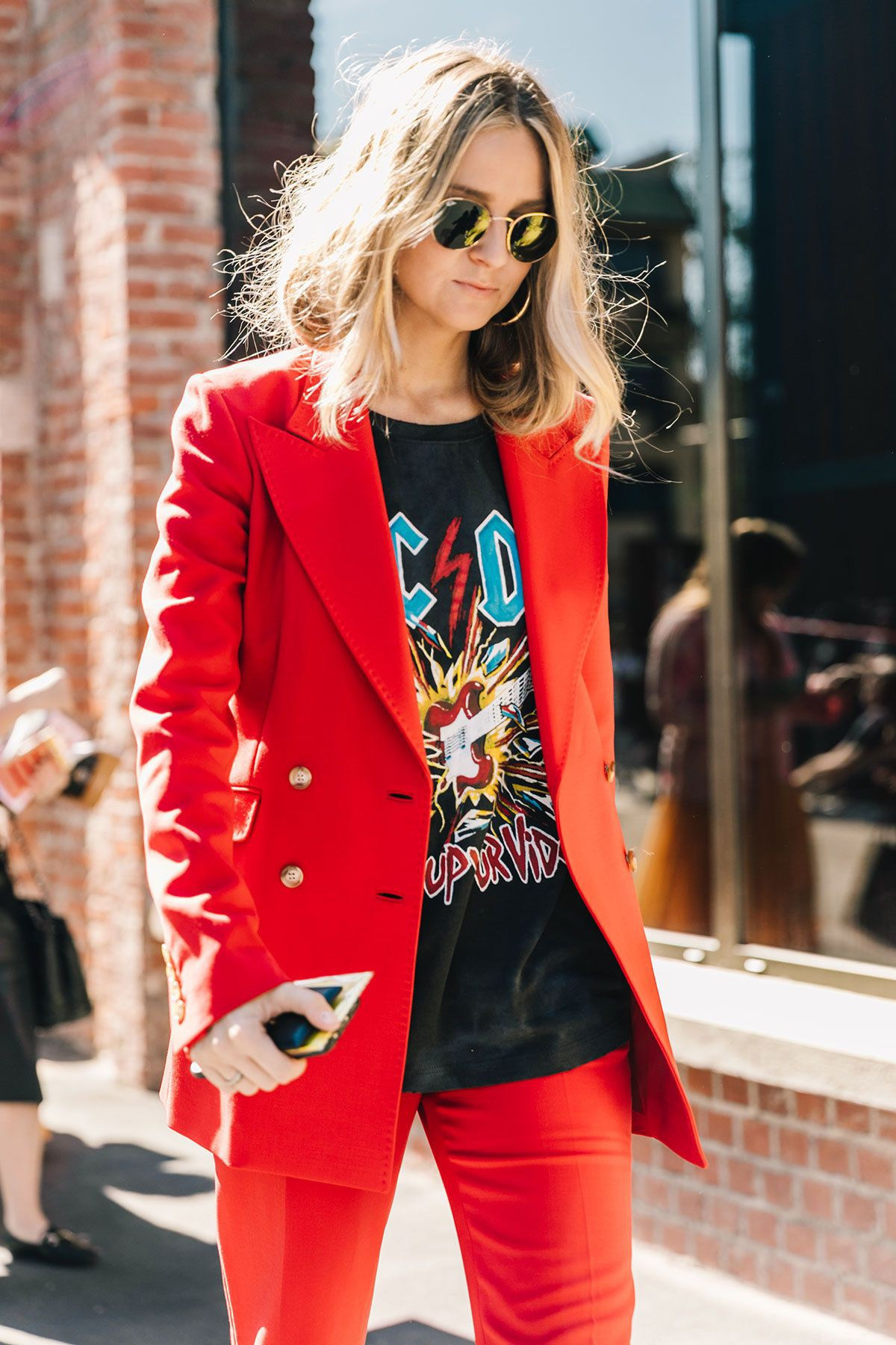 Suit with band tee, street fashion, t shirt