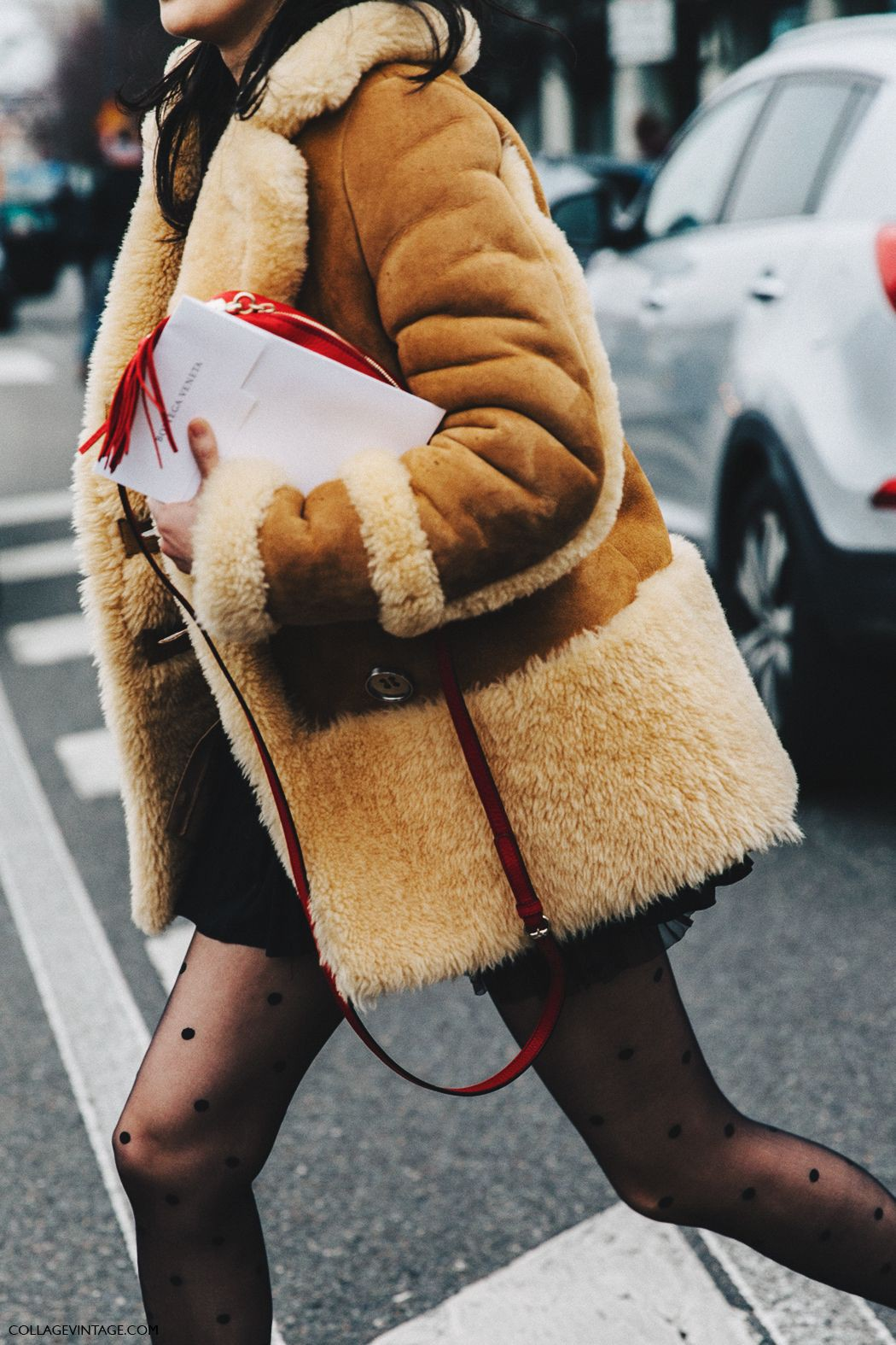 Coach shearling jacket street style