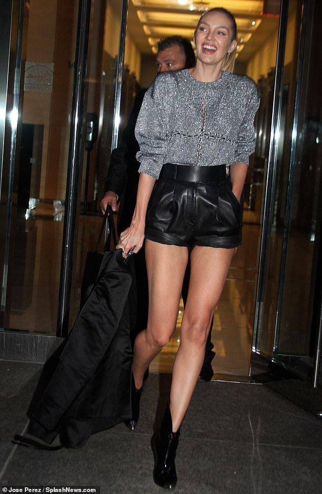 Leather shorts candice swanepoel, victorias secret, candice swanepoel, fashion model, human body