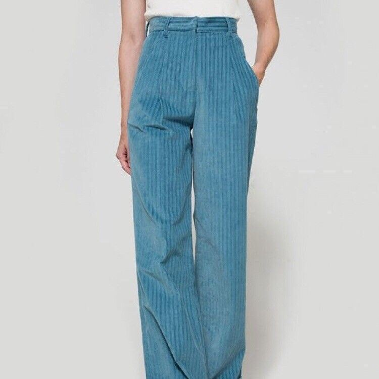 Turquoise and teal outfit style with trousers, skirt, denim