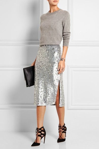 Colour outfit, you must try style sequin skirt, fashion model, sequin skirt, pencil skirt, crop  ...