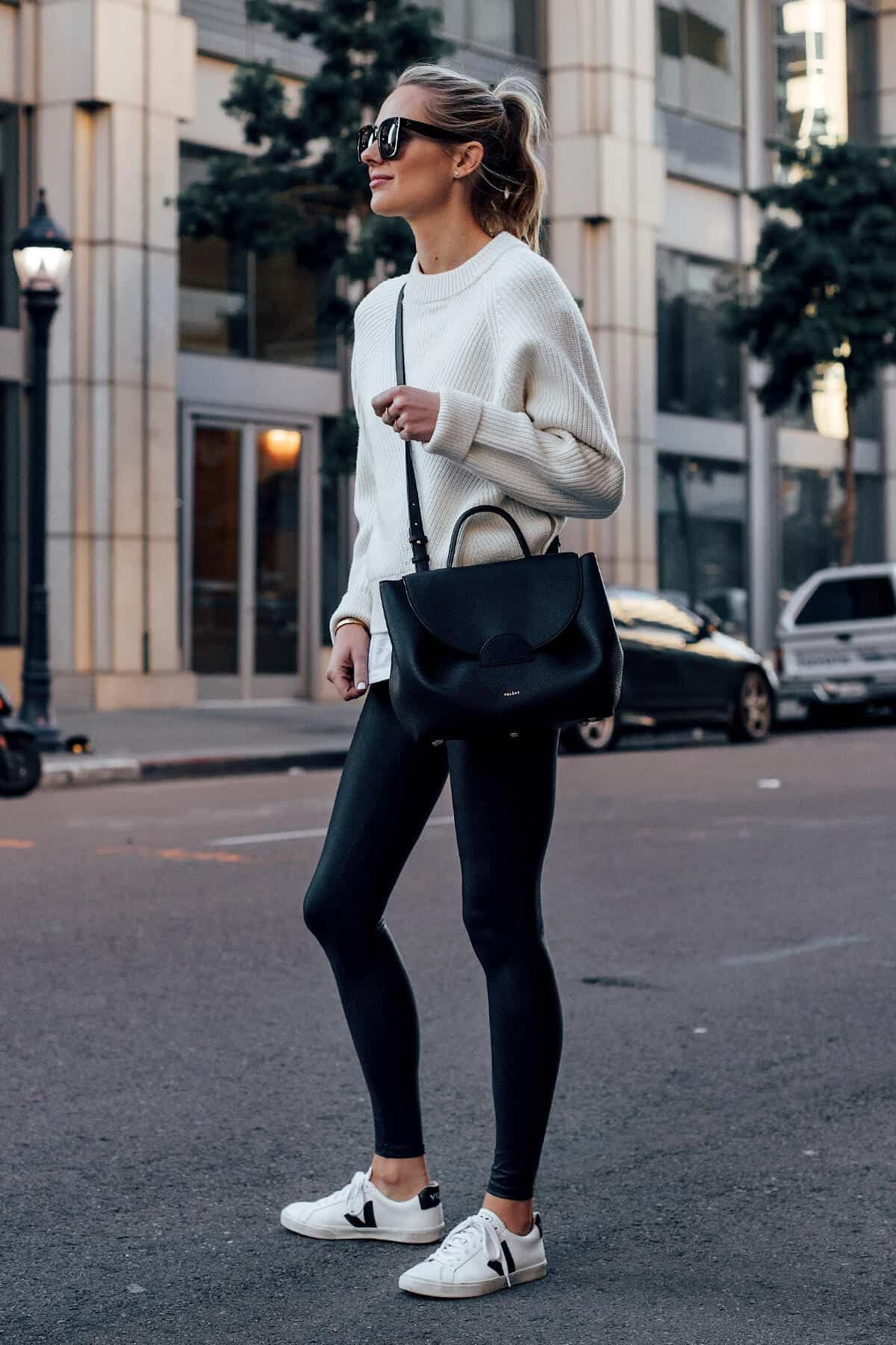 Colour ideas leather leggings outfit black and white, artificial leather
