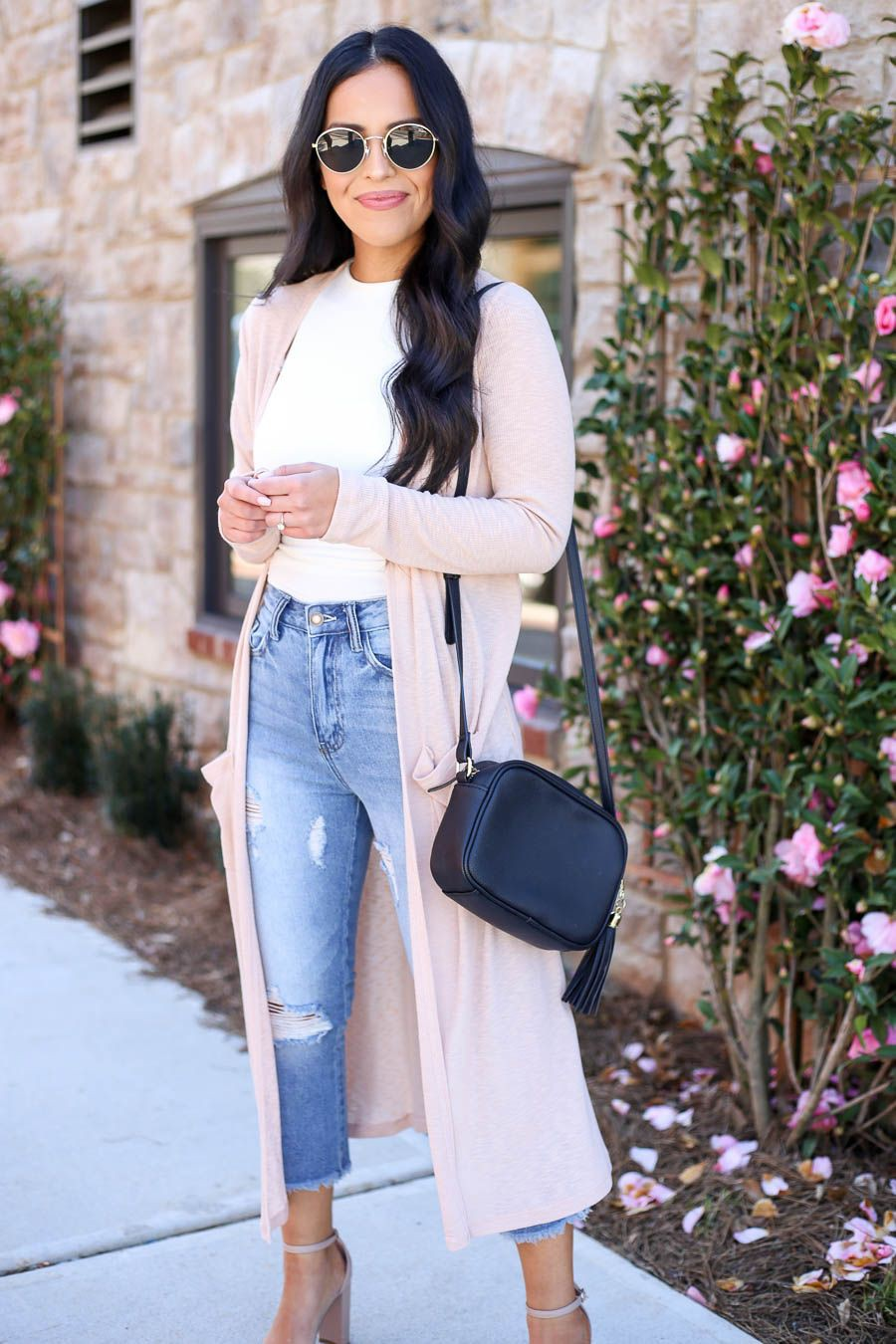 White and pink colour combination with denim, jeans