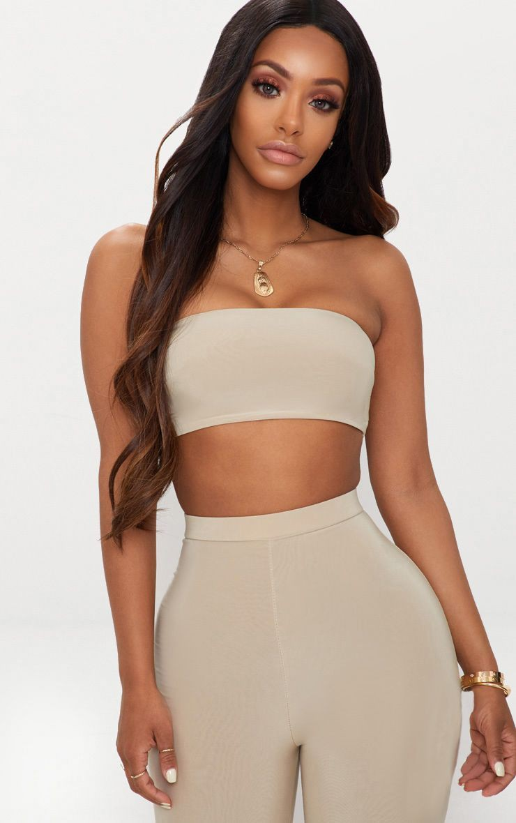 Beige cute collections with tube top, crop top, top