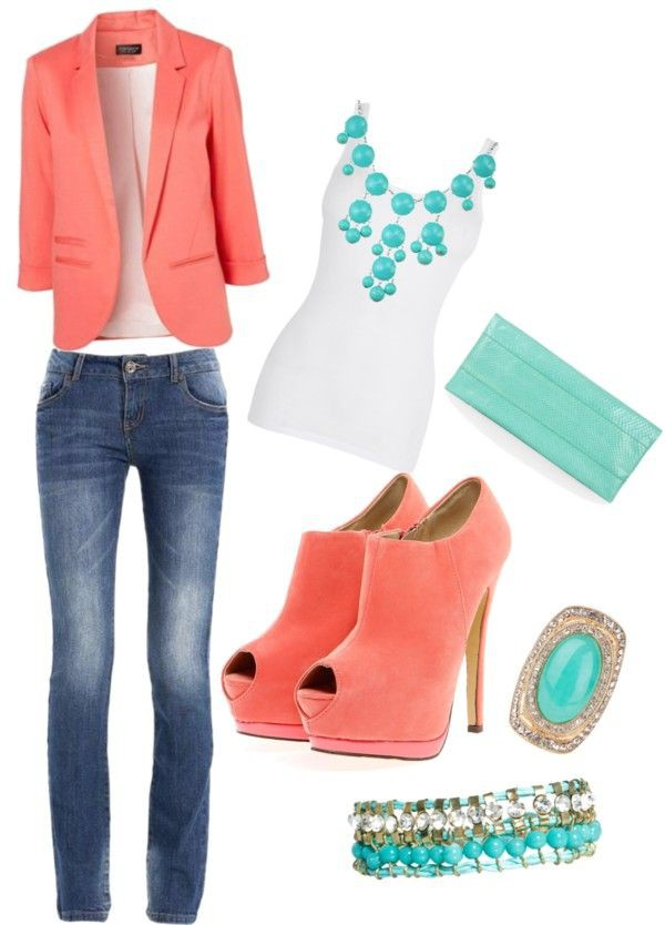 Designer outfit zapatos coral outfit slim fit pants, blazer   coral