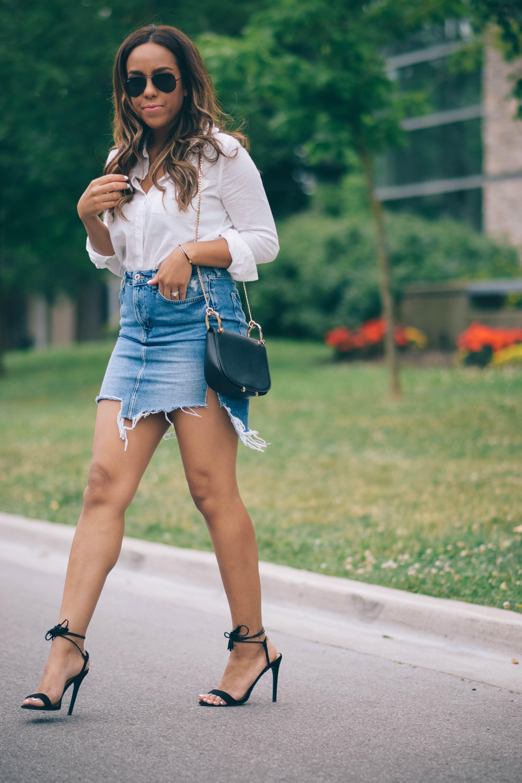 White dresses ideas with jean short, miniskirt, shorts