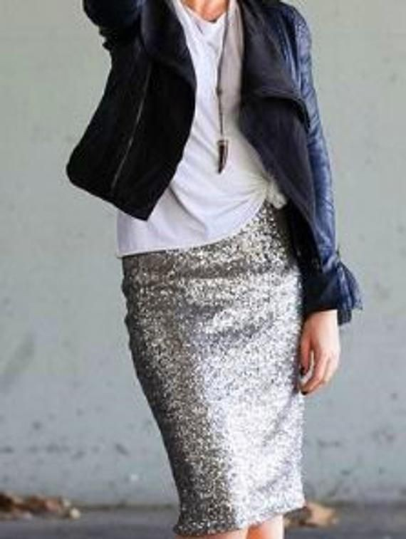 Silver sequin skirt outfit, sequin skirt, pencil skirt, casual wear, t shirt