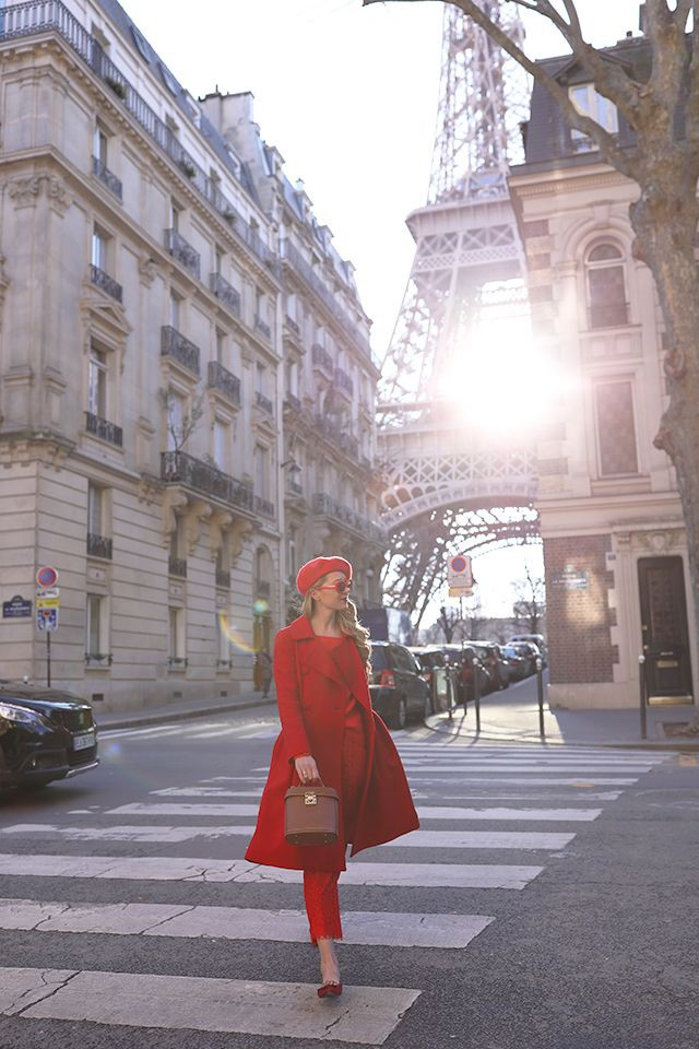 Colour outfit, you must try paris red outfit, street fashion, eiffel tower, trench coat, red ber ...