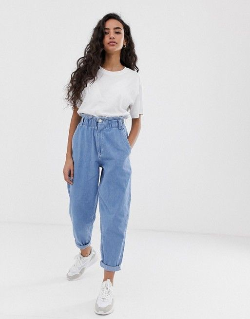 Colour dress cinch waist jeans, petite size, high rise, mom jeans
