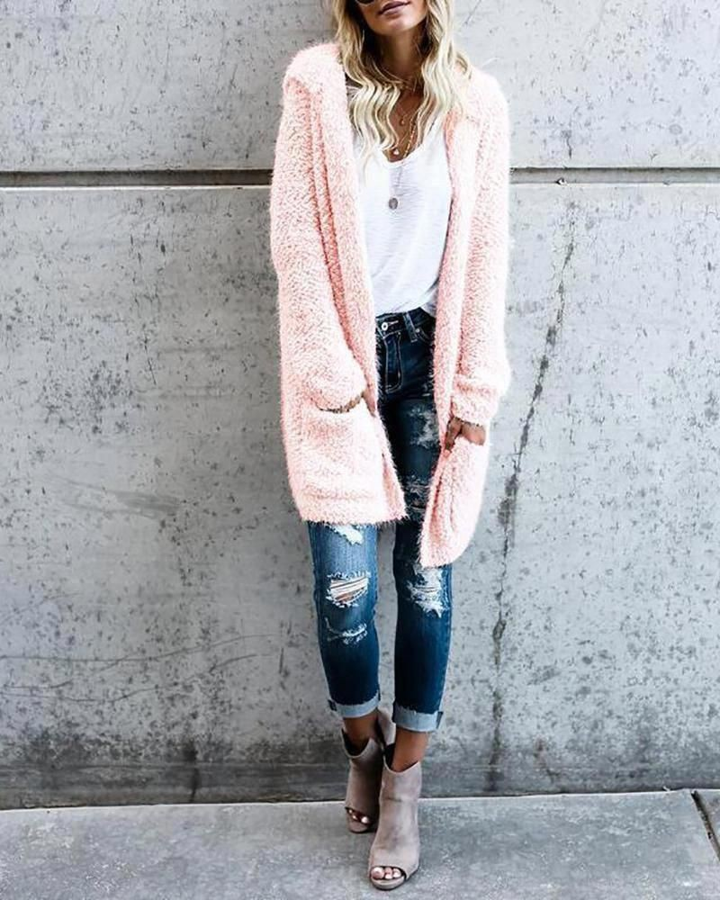 Winter outfit with long white cardigan