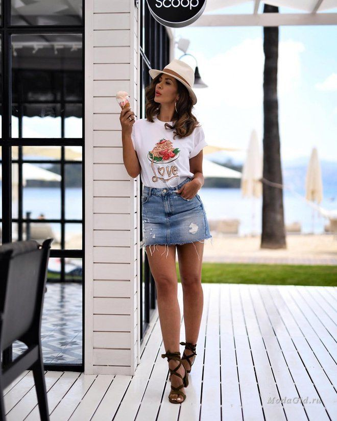 White outfit style with denim skirt, crop top, shorts